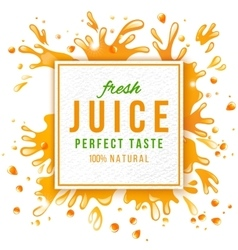 Paper emblem with juice splashes vector image vector image