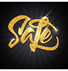 Sale calligraphic inscription gold effect vector image
