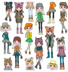 seamless pattern with cute hipster girl vector image vector image
