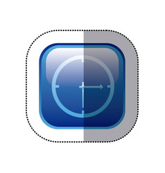 sticker blue square frame with wall clock icon vector image vector image