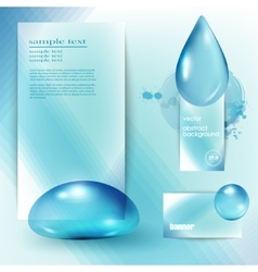 template with a blue background and the drops of vector image vector image