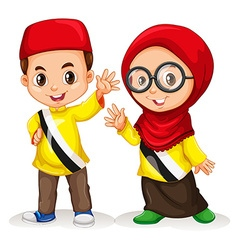 Boy and girl from Brunei vector image vector image