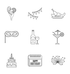 Children party icons set outline style vector image