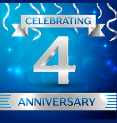four years anniversary celebration design vector image vector image