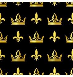 Golden crowns and fleur de lis seamless vector image