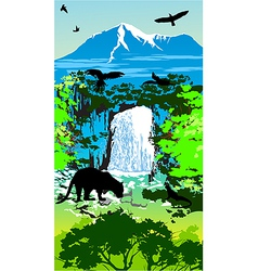 Jungle Waterfall vector image
