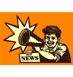 Retro newspaper vendor kid screaming megaphone vector image