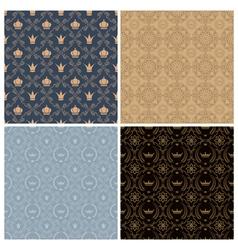Seamless set four vintage backgrounds in vintage vector image vector image