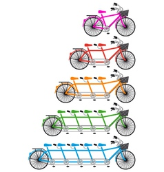 tandem team bikes bicycle set vector image vector image