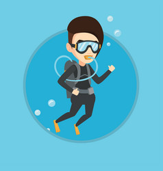 woman diving with scuba and showing ok sign vector image vector image