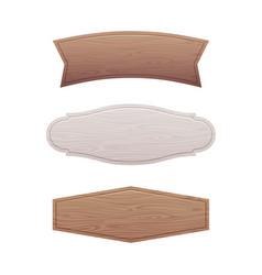 set of empty wooden signboard vector image