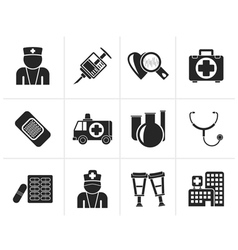 Silhouette Medicine and healthcare icons vector image vector image