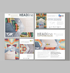 social media posts set business templates vector image