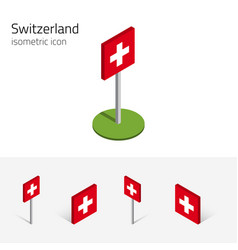switzerland flag set of 3d isometric icons vector image