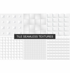white tile seamless geometric textures vector image vector image