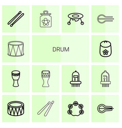 14 drum icons vector image