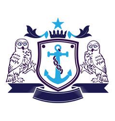 2 owls anchor crest emblem family logo brand vector