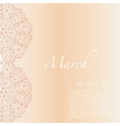 8 march Ornament flower greeting card vector image