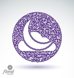 A New Moon with a cloud beautiful art floral vector