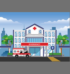 Ambulance car in front hospital building vector