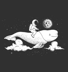 astronaut and beluga vector image