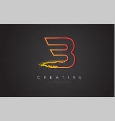 b letter design with golden outline and grunge vector image