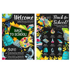 back to school lesson sale sketch posters vector image