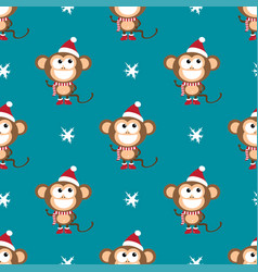 Background with monkeys and snowflakes vector