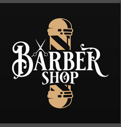barber shop logo with barber scissors and pole vector image