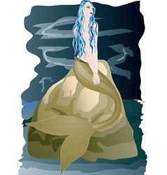 Beautiful mermaid sitting on rock by the sea vector image
