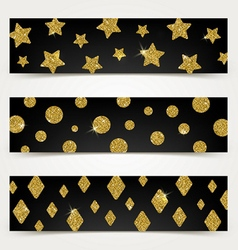 Black banners with golden glitter elements vector image vector image