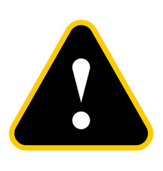 black triangle exclamation mark icon warning sign vector image