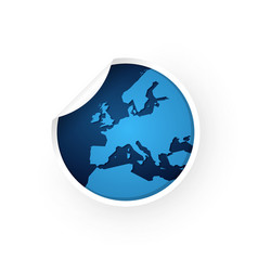Blue europe map icon sticker vector