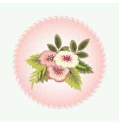 Bouquet flowers vignette floral design vector
