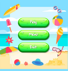Cartoon style buttons with text for game vector