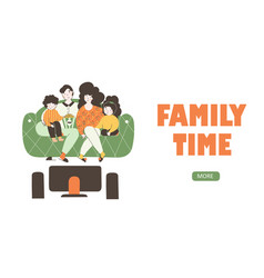 Cartoon with family watching movie flat landing vector