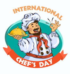 chef day concept background cartoon style vector image