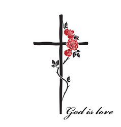 Christian cross and roses vector