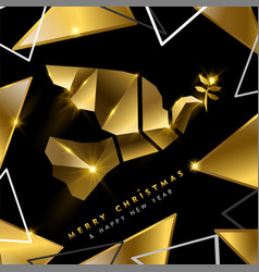 Christmas and new year luxury 3d gold bird card vector