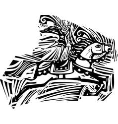circus horse woodcut vector image