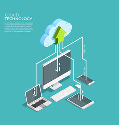 Cloud computing technology isometric poster vector