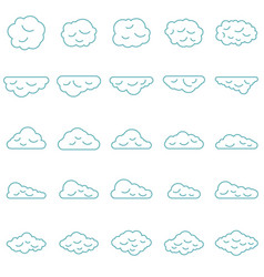Clouds set in line style vector