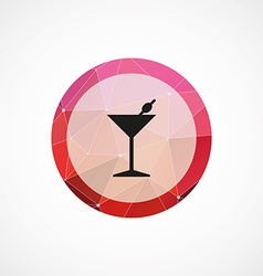 Cocktail circle pink triangle background icon vector