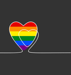 Continuous line drawing heart with lgbt gay vector