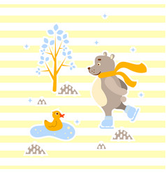 cute bear and duck friends ice-skating vector image