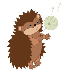 Cute carton hedgehog with dandelion vector