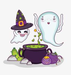 Cute ghosts halloween cartoons vector
