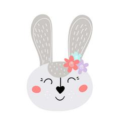 Cute grey easter bunny flat vector