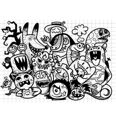 Cute hand drawn halloween doodles vector