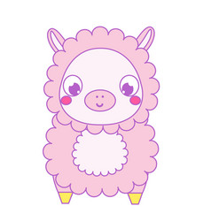 Cute lama alpaca kawaii vector